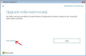 zrušení rezervace upgrade windows 10