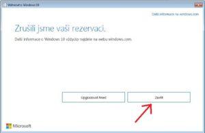 potvrzení zrušení rezervace upgrade windows 10
