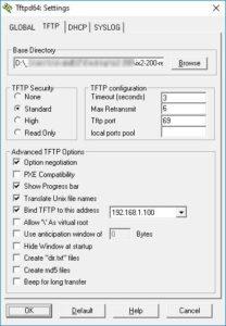TFTP server nastavení cesty a vybrání síťové karty
