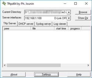 TFTP server nastavení cesty a síťové karty