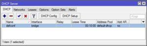 Nastavení DHCP serveru na bridge