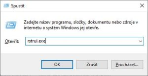 Obnovení systému rstrui.exe